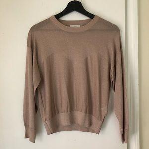 Joie Metallic Knit Cropped Sweater